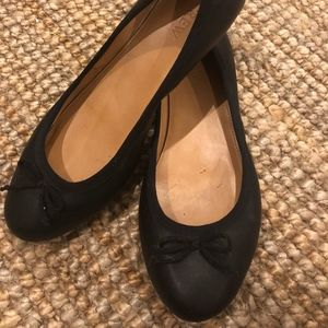 J.Crew Black Leather Ballet Flats
